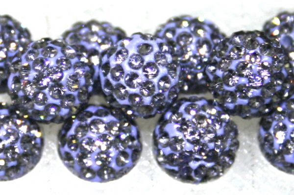 8mm Light Purple 70 Stone Pave Crystal Beads- Half Drilled  PCBHD08-070-014